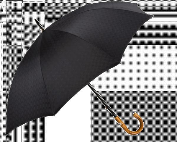 Black Patterned Umbrella with Chestnut Handle