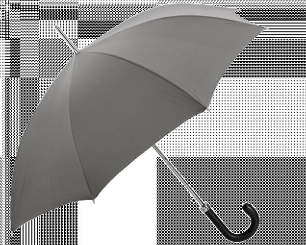 Grey Umbrella with Leather Handle