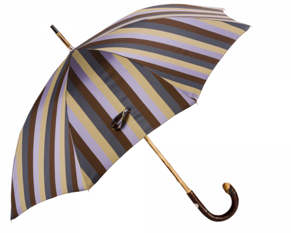Solid Chestnut Striped Umbrella with Knob End