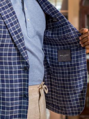 Dark Blue Graph Check Linen Blend Sport Coat