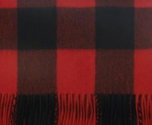 Bright Scarlet Black Buffalo Check Cashmere Scarf