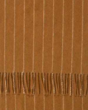 Crocket Dark Fawn Chalk Stripe Cashmere Scarf