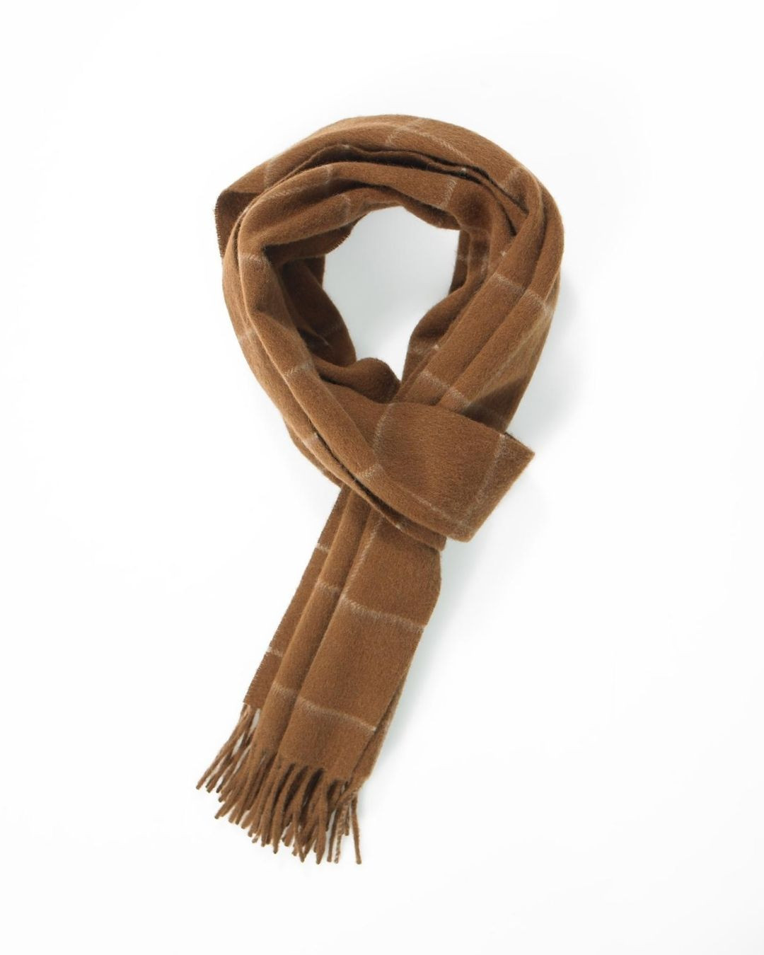 Crocket Dark Fawn Windowpane Cashmere Scarf