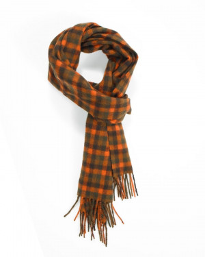Chocolate Crocket Bright Orange Shepherd Check Cashmere Scarf