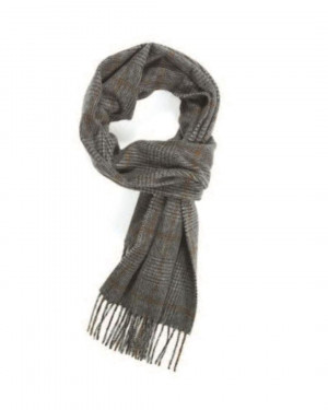 Grey Crocket Prince Of Wales Cashmere Scarf
