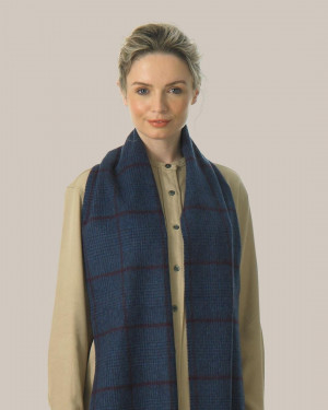 Navy Heather Crimson Prince Of Wales Cashmere Scarf