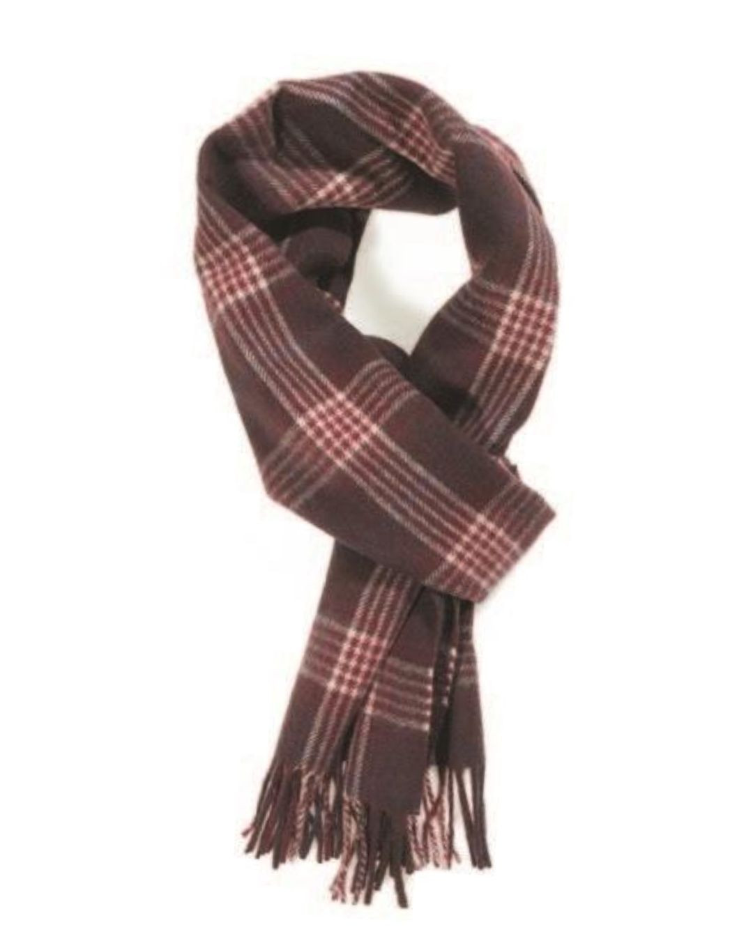 Claret Cream Navy House Check Cashmere Scarf