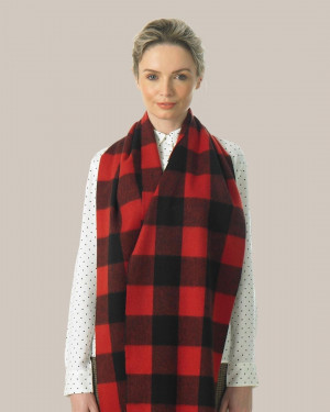 Bright Scarlet Black Buffalo Check Cashmere Scarf