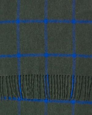 Green Black Mix Cobalt Windowpane Wide Cashmere Scarf