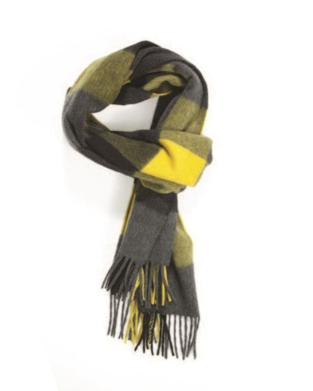 Mid Grey Black Yellow Three Color Block Check Cashmere Scarf
