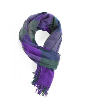 Bright Purple Mid Green Mid Grey Three Color Block Check Cashmere Stole