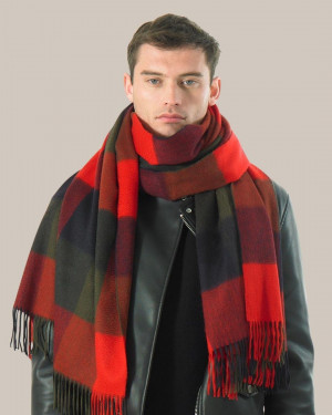 Red Khaki Navy Three Color Block Check Cashmere Stole