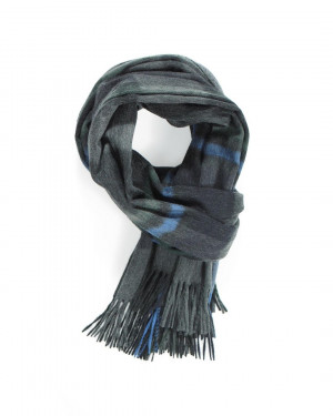 Grey Sapphire Mid Green Contemporary Blackwatch Cashmere Stole
