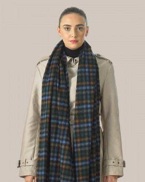 Black Sapphire Crocket Tweed Cashmere Stole