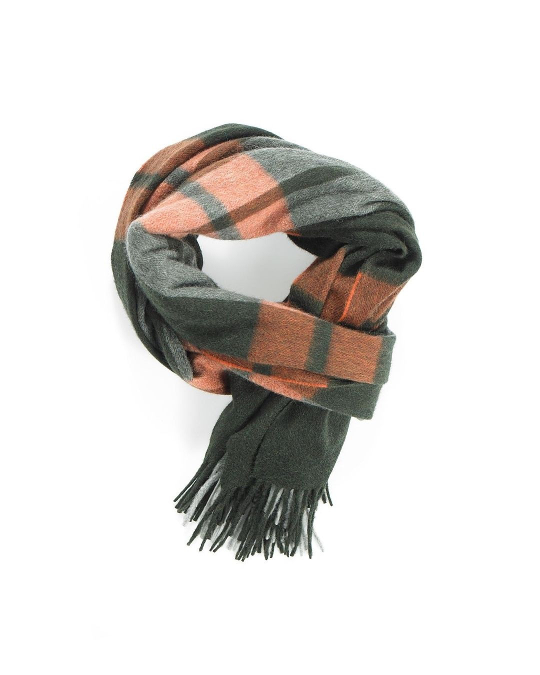 Green Black Mix Solder Tiger Twill Check Cashmere Stole