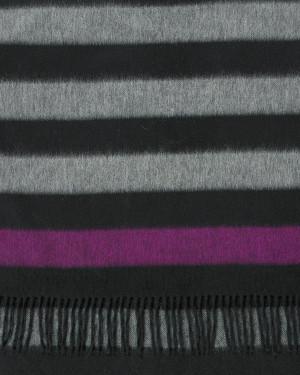 Black Solder Fuchsia Three Color Block Stripe Cashmere Stole