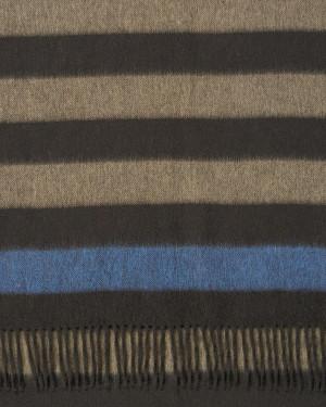 Chocolate Sand Soft Sapphire 2 Three Color Block Stripe Cashmere Stole