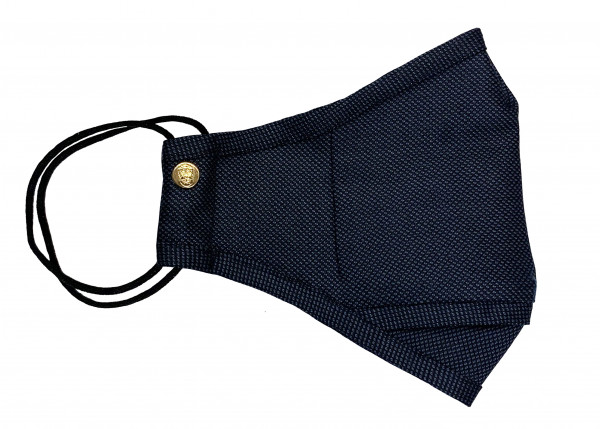 Navy Blue Birdseye Wool Mask