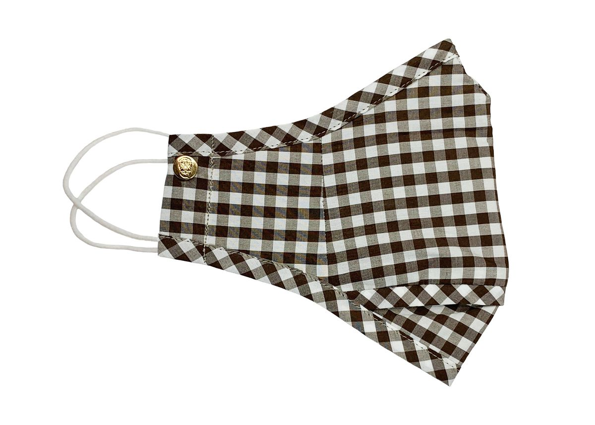 Brown Gingham Check Cotton Mask
