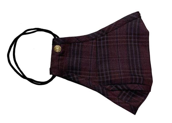 Burgundy Red Plaid Wool Mask