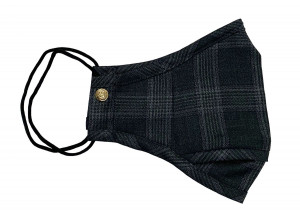 Charcoal Grey Prince of Wales Check Wool Mask