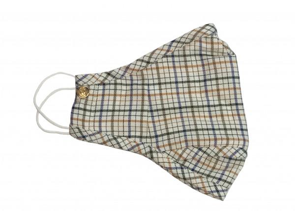 Cream, Blue, Olive Plaid Swiss Cotton Flannel Mask