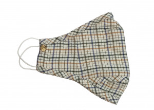 Cream, Blue, Olive Plaid Swiss Cotton Flannel Mask