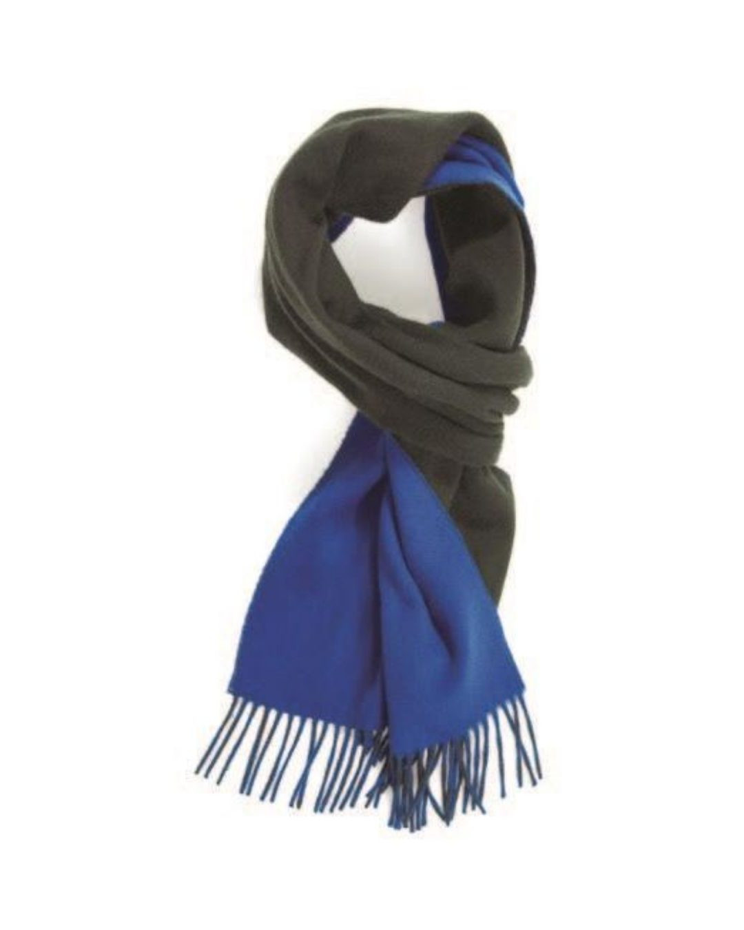Bright Blue Old Green Plain Double Faced Cashmere Scarf