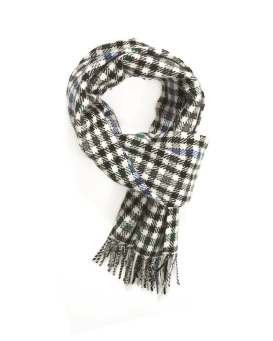White Sapphire Mid Green Tweed Cashmere Scarf