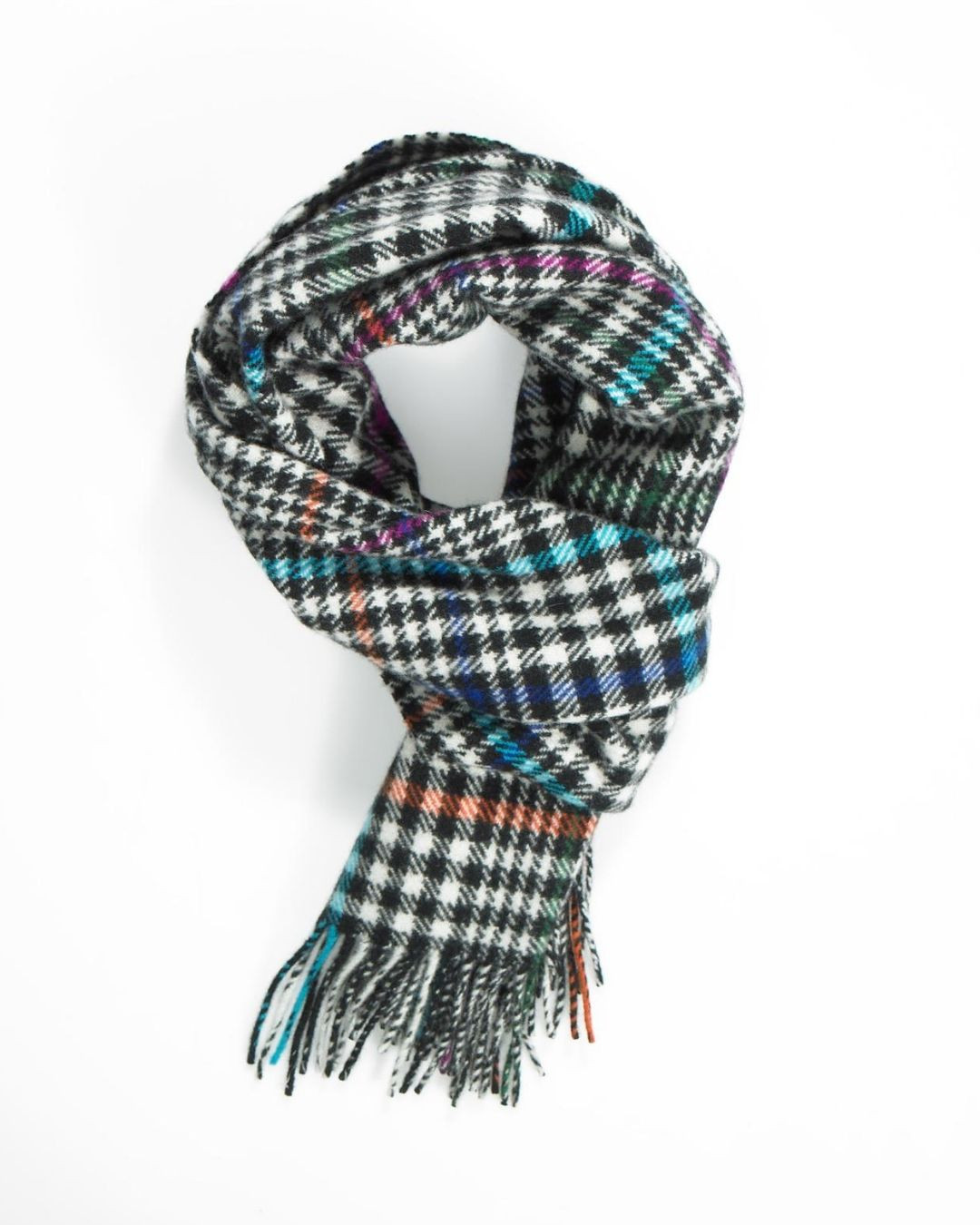 Black White Pop Colors Check & Tweed Cashmere Scarf