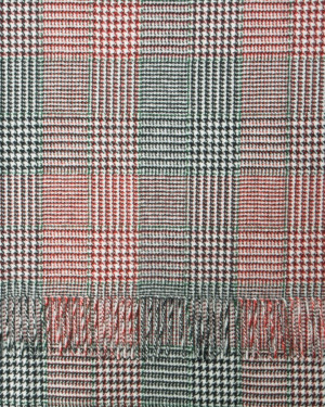 Red Black Green White Check & Tweed Cashmere Scarf