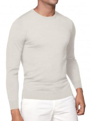 White Merino Wool Crew Neck Sweater