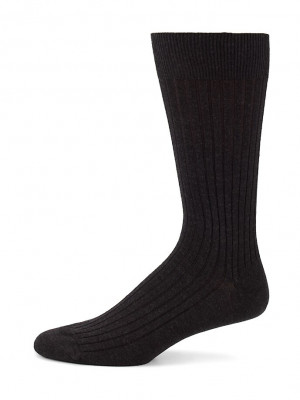 Charcoal Merino Ribbed Mid-Calf Dress Socks