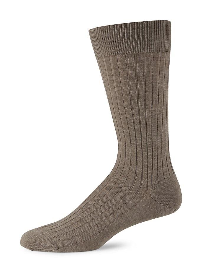Tan Merino Ribbed Mid-Calf Dress Socks