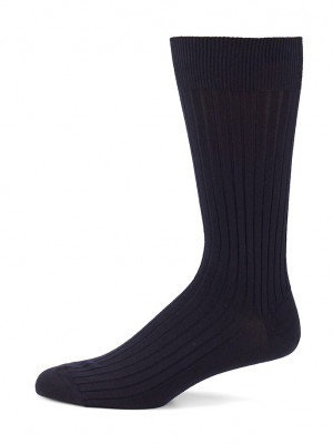 Navy Merino Ribbed Mid-Calf Dress Socks