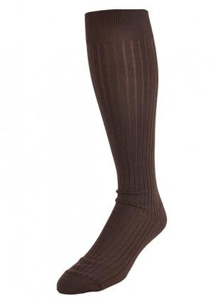 Chocolate Merino Ribbed Over the Calf Dress Socks