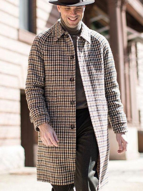 Houndstooth Balmacaan Coat