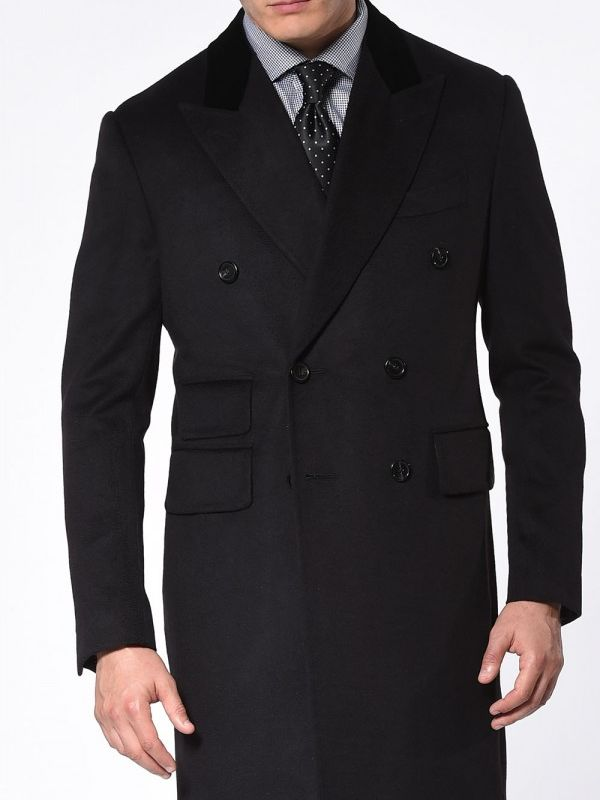 Black Pure Cashmere DB Overcoat