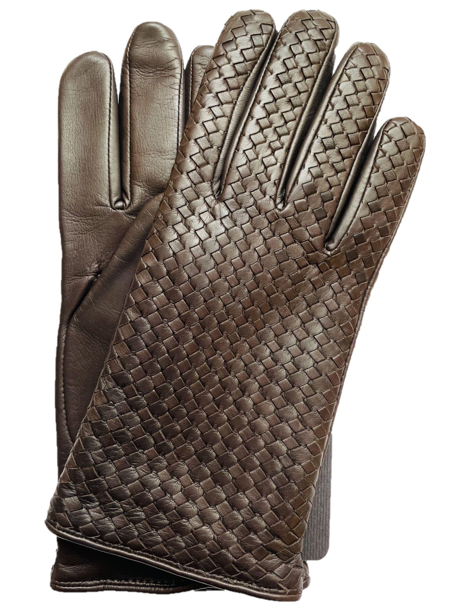 Brown Woven Lambskin Gloves