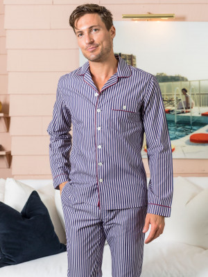Red & Dark Blue Stripe Pajama Shirt