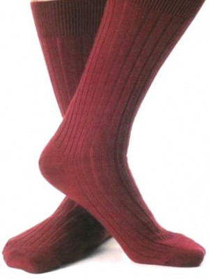 Burgundy Merino Ribbed Mid-Calf Dress Socks
