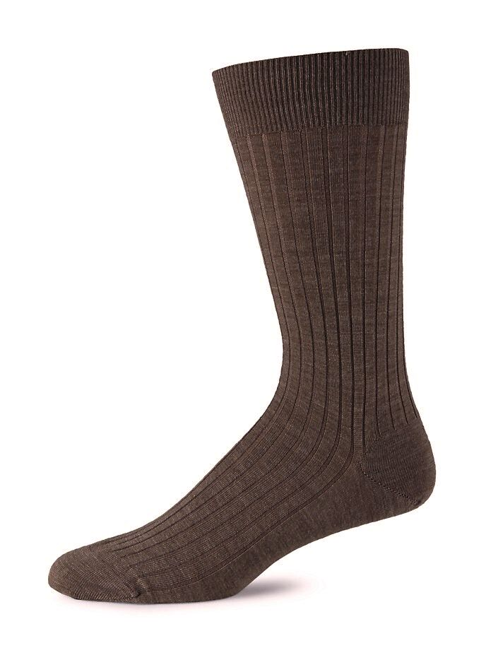 Chocolate Merino Ribbed Mid-Calf Dress Socks