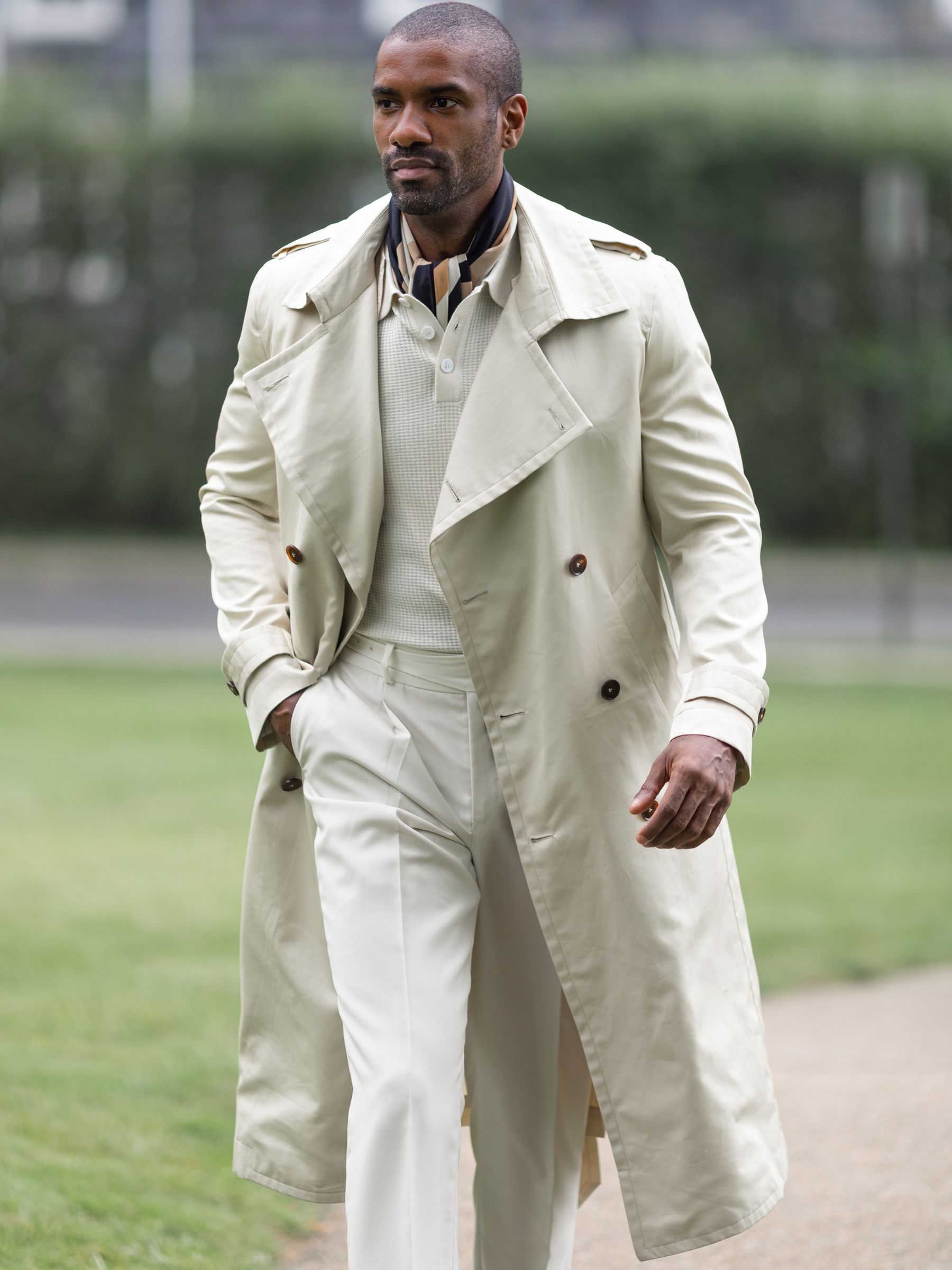 Cream Cotton Trench Coat w/ Removable Lining