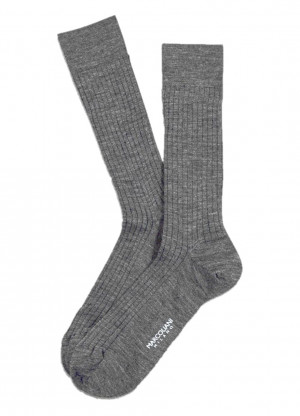 Flannel Grey Merino Ribbed Over the Calf Dress Socks