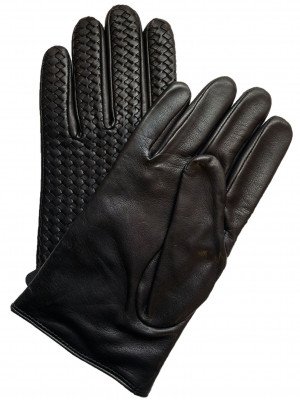 Black Woven Lambskin Gloves
