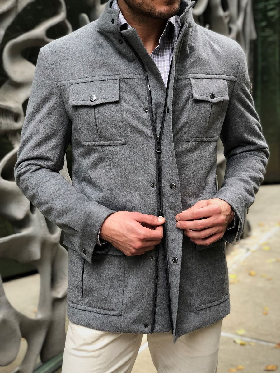 Light Grey Field Jacket w/ Down Backing