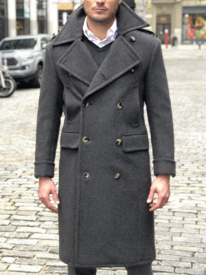 Charcoal Grey Solid Great Coat