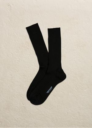 Black Merino Ribbed Over the Calf Dress Socks