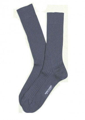 Indigo Blue Merino Ribbed Over the Calf Dress Socks