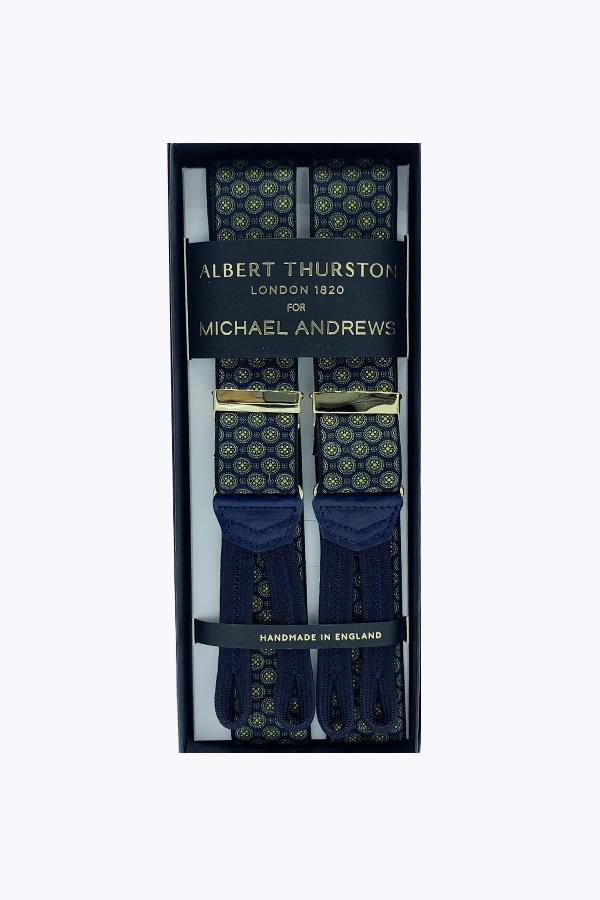 Blue Medallion Stretch Suspenders